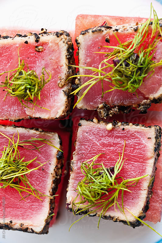 Seared Tuna and Watermelon Appetizer by Jill Chen for Stocksy United