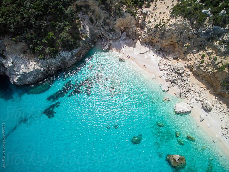 Aerial view of mediterranean beach, Sardinia by Luca Pierro for Stocksy United