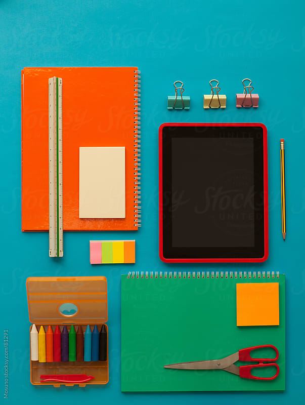 School stuff on the table. by Mosuno for Stocksy United