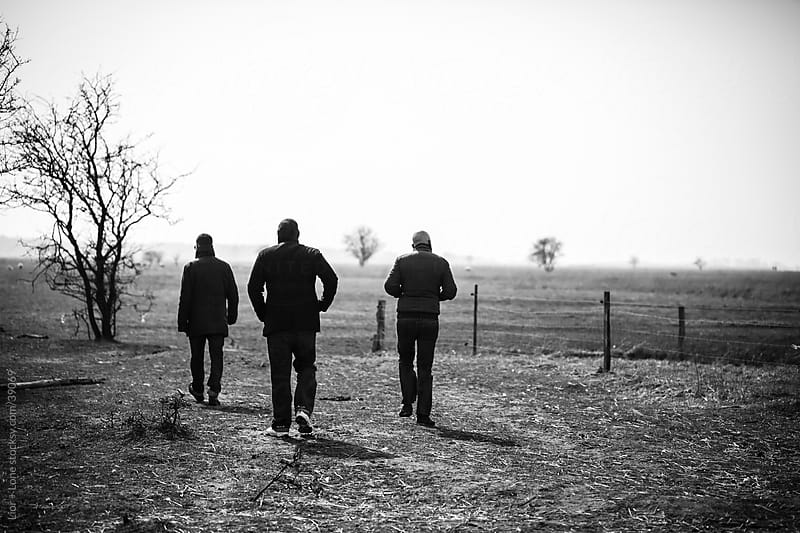 Three male friends walking in nature by Lior + Lone for Stocksy United