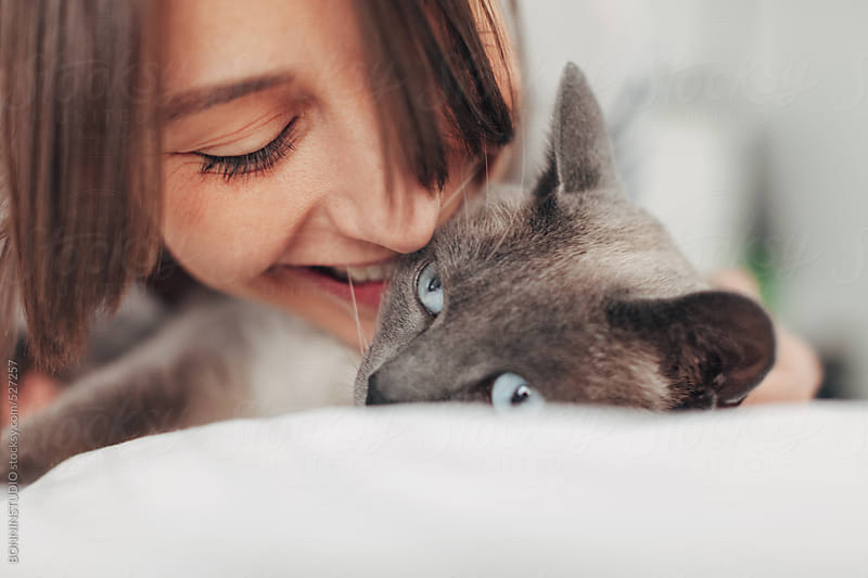 Young woman kissing her siamese cat at home. by BONNINSTUDIO for Stocksy United