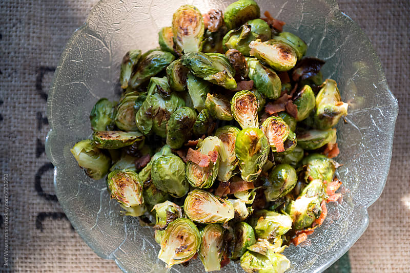 Roasted Brussel Sprouts with Bacon Side Dish by Jeff Wasserman for Stocksy United