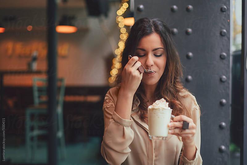 Woman Drinking Mocha Coffee by Lumina for Stocksy United