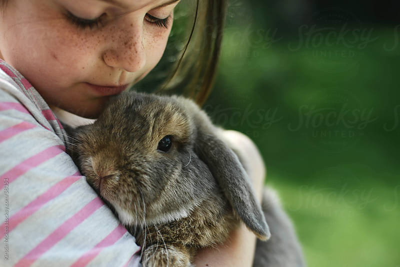 Close up of girl holding a rabbit by Kirstin Mckee for Stocksy United
