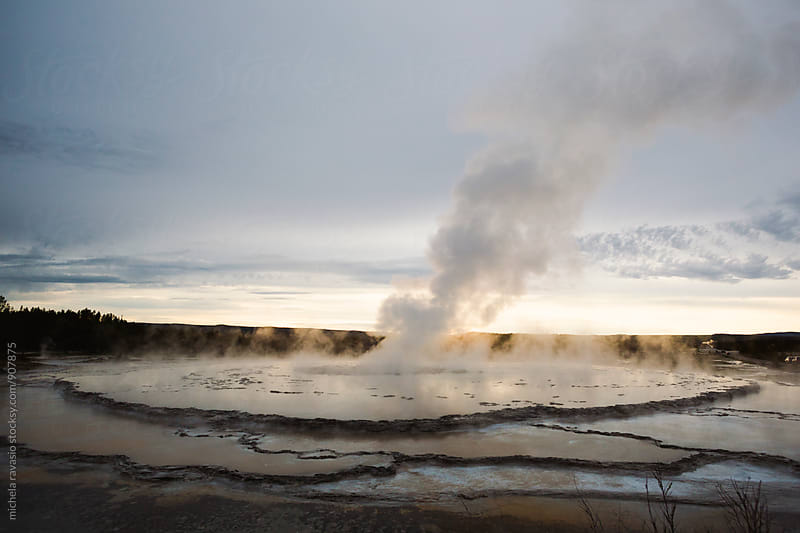 Spectacular view of Great Fountain Geyser in Yellowstone National Park by michela ravasio for Stocksy United