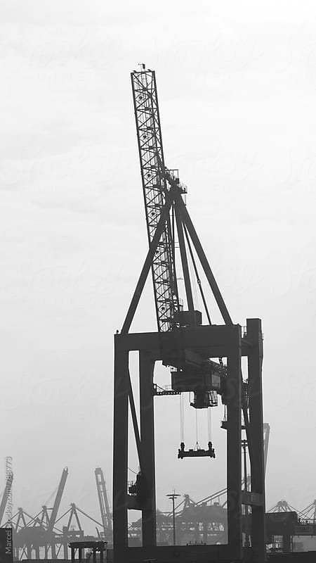 Tall crane for container transport by Marcel for Stocksy United