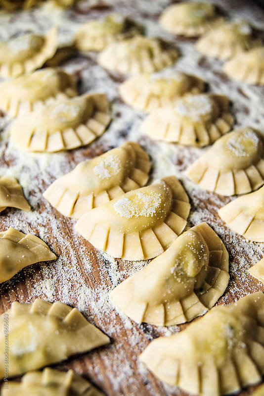 Food: Homemade Ravioli (culurgiones) by Ina Peters for Stocksy United