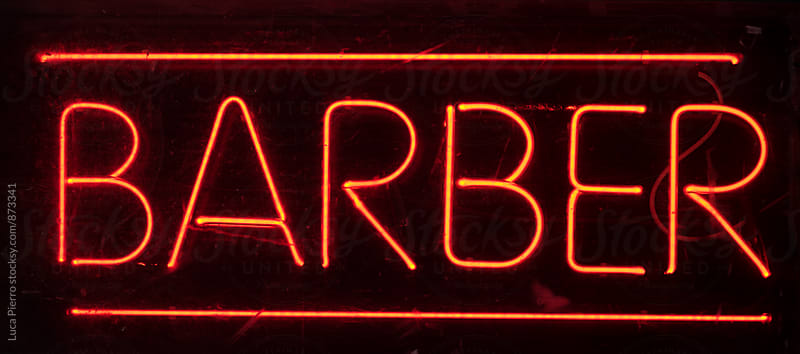 Neon barber sign by Luca Pierro for Stocksy United