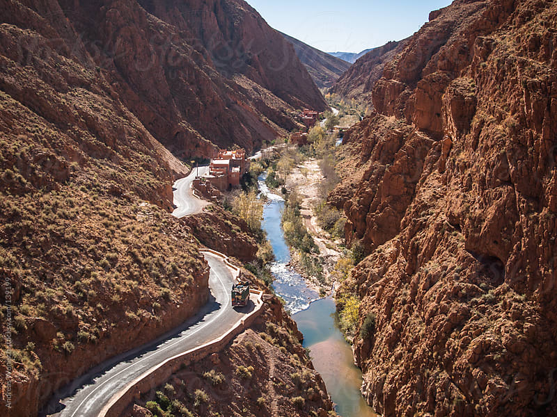 Road going through Dades Gorge by Andreas Wonisch for Stocksy United