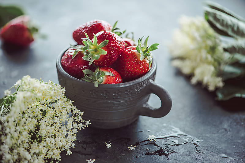 Food: Strawberries and Elderflower by Ina Peters for Stocksy United