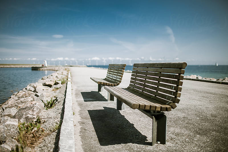 Bench on the Amager beach near Copenhagen. by Zocky for Stocksy United