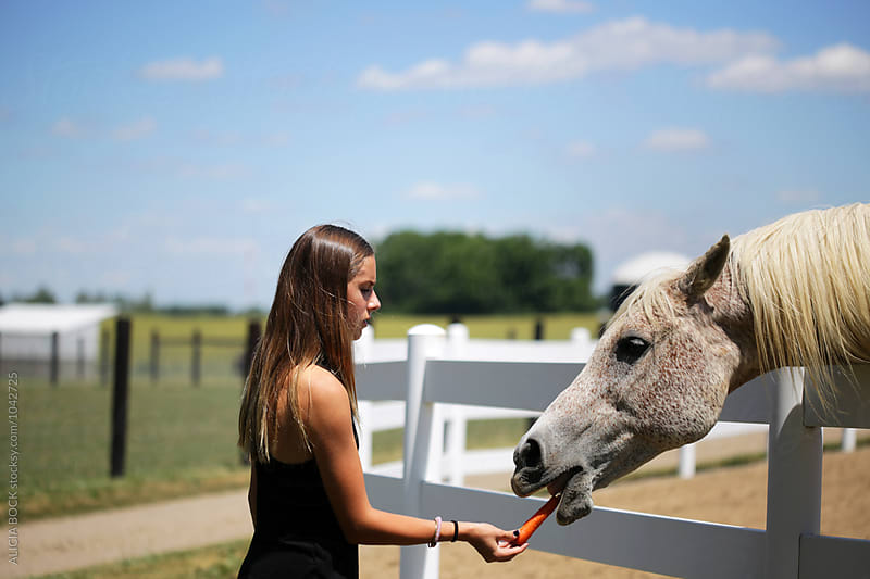 A Teen Girl Feeding A Horse A Carrot On A Summer Afternoon by ALICIA BOCK for Stocksy United