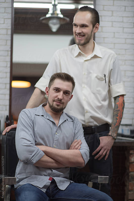 Barber and his Client by Milles Studio for Stocksy United