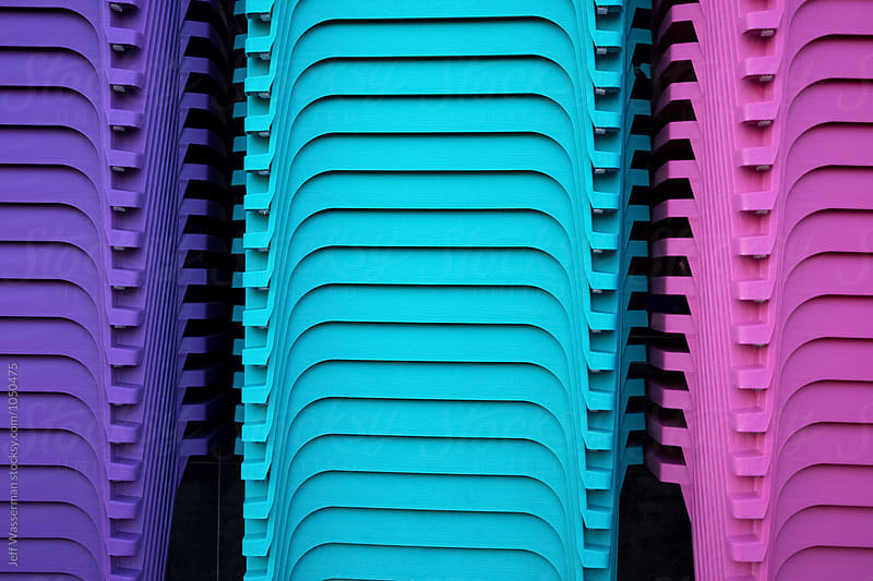 Stacks of Colorful Chairs by Jeff Wasserman for Stocksy United