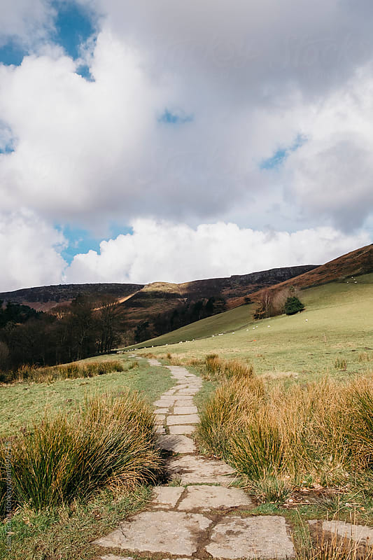 Stone footpath through valley. Edale, Derbyshire, UK. by Liam Grant for Stocksy United