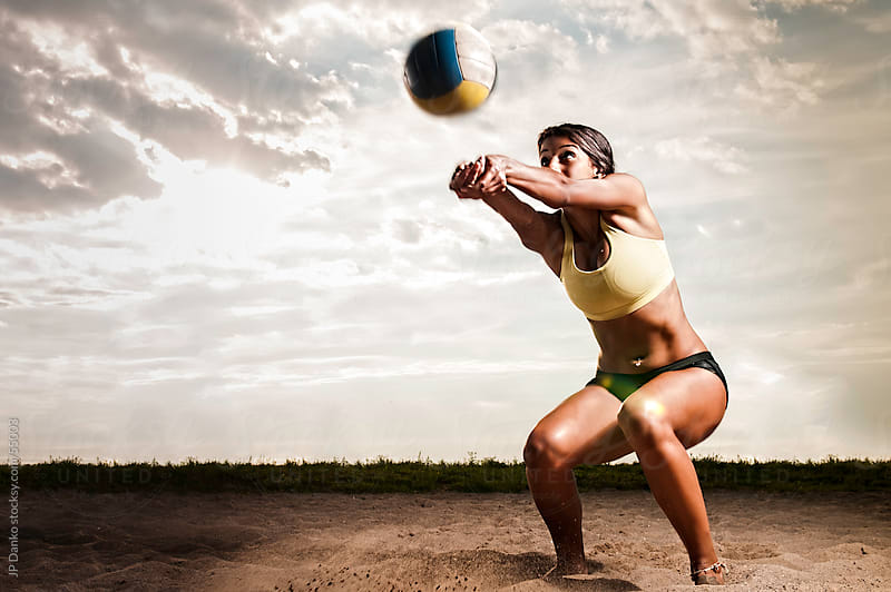 Femal Beach Volleyball Player In Action by JP Danko for Stocksy United