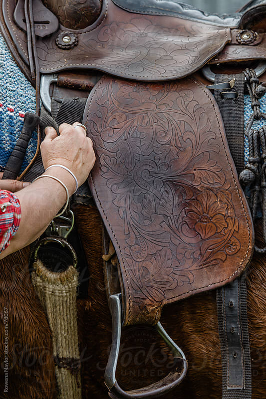 Old Hard Carved Leather Horse Saddle by Rowena Naylor for Stocksy United