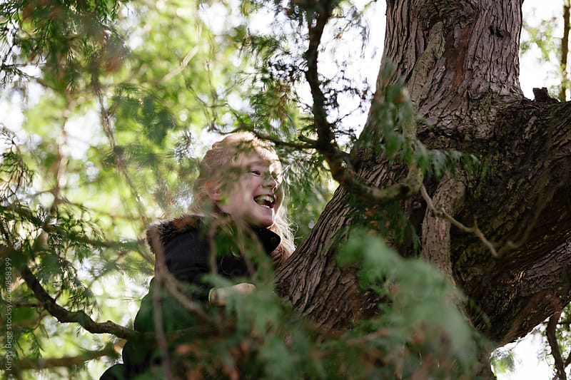 Child laughing as she climbs higher up a tree by Kirsty Begg for Stocksy United