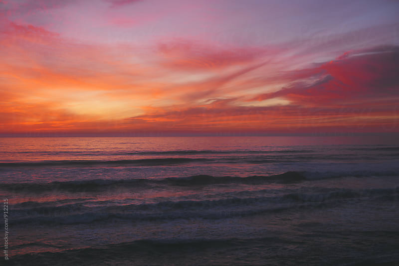 Beautiful summer sunset over the Pacific Ocean by paff for Stocksy United