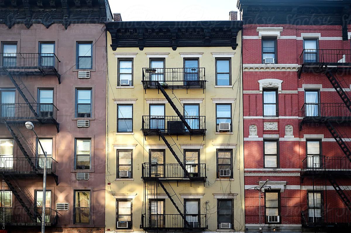 Facades Of Row Of Brick Apartment Buildings | Stocksy United Brick Apartment Building
