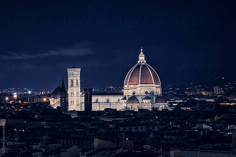 Duomo Santa Maria Del Fiore by night, Florence by Simone Becchetti for Stocksy United