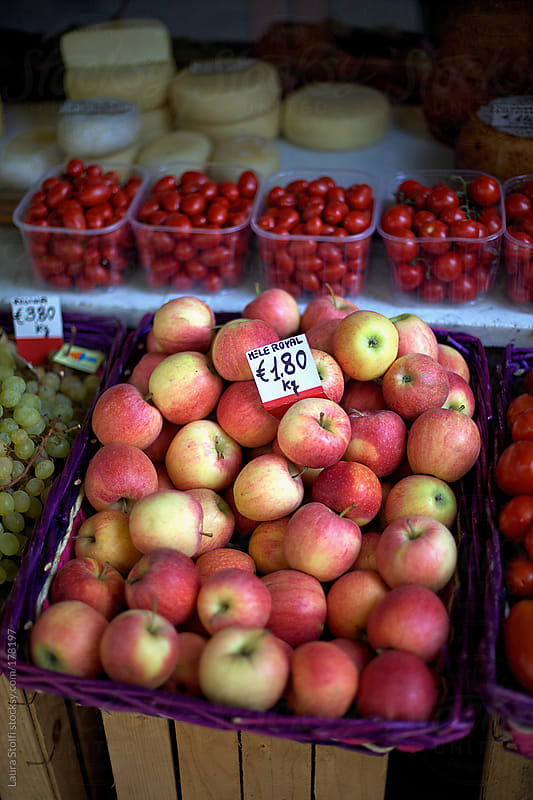 Royal apples for sale at grocery shop in Italy by Laura Stolfi for Stocksy United