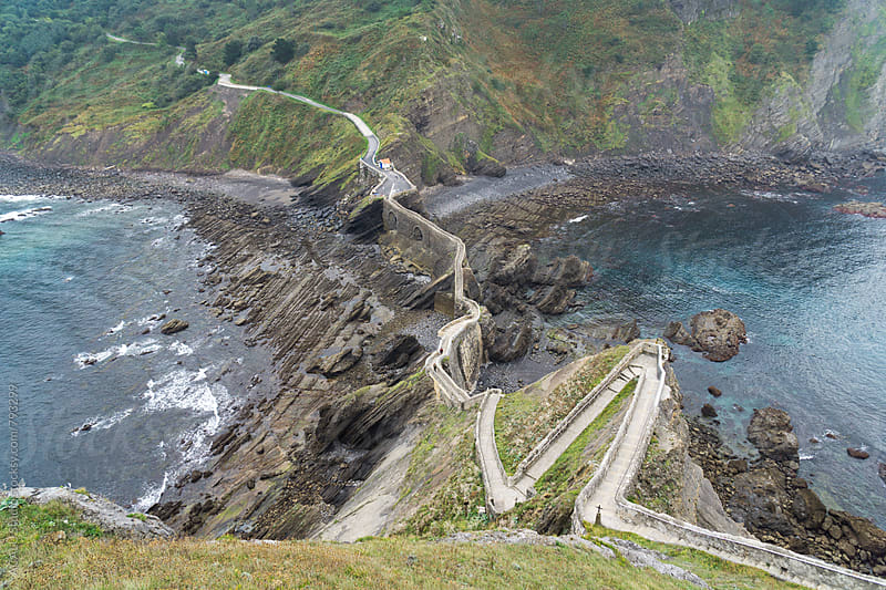 Top views of a cliff next to the sea in Gaztelugatxe by ACALU Studio for Stocksy United