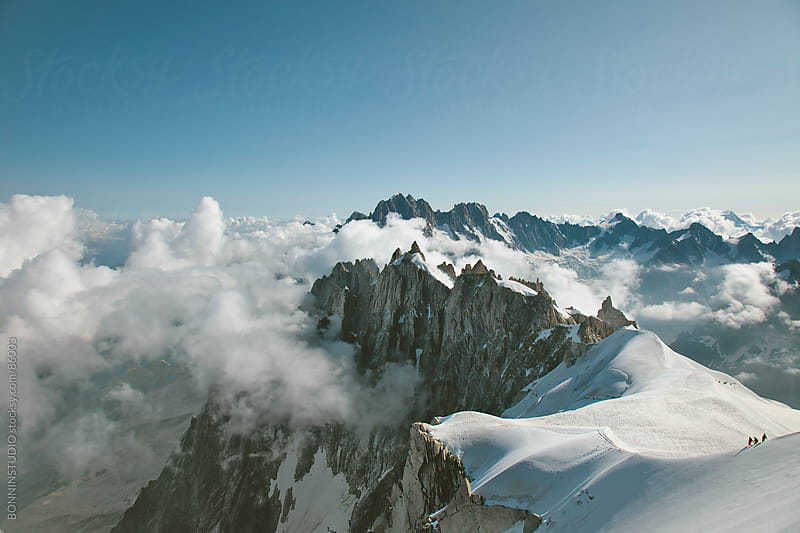 View of three aplinists climbing to montblanc. Beautiful Landscape, France. by BONNINSTUDIO for Stocksy United