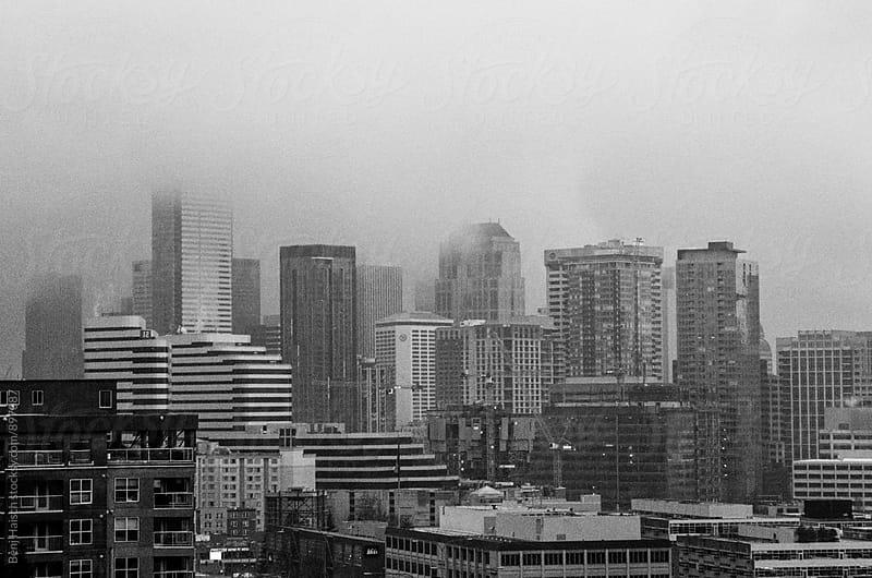 Seattle in Fog by Benj Haisch for Stocksy United