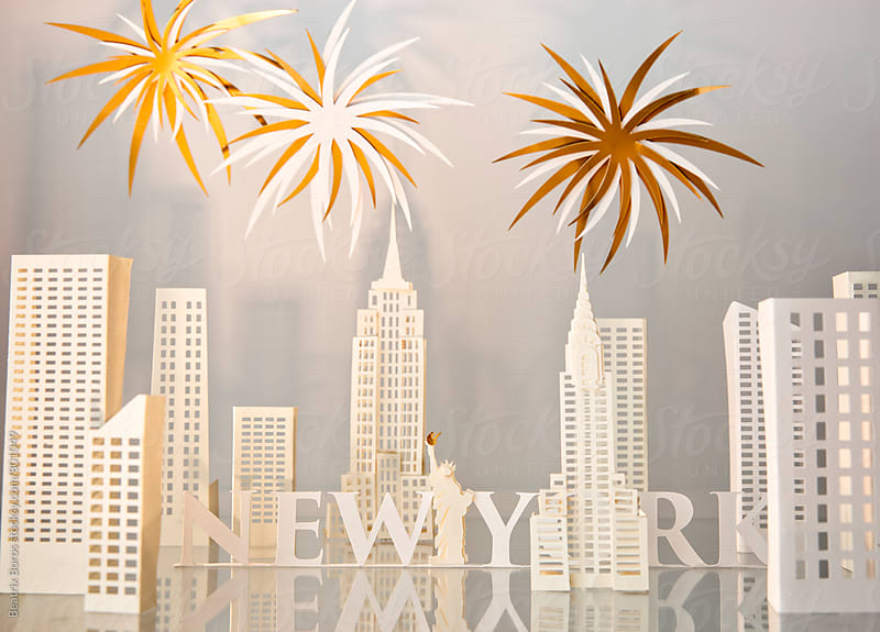 Fireworks in New York paper craft on white by Beatrix Boros for Stocksy United