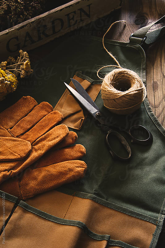 Gardening apron, gloves, hemp cord, and rusty scissors  by Pixel Stories for Stocksy United