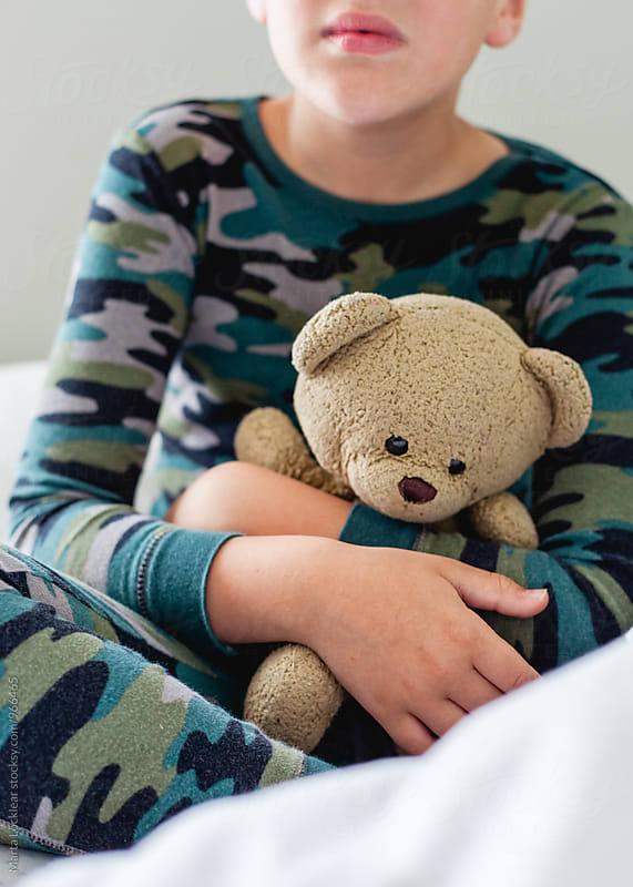 Boy holding his Teddy Bear by Marta Locklear for Stocksy United