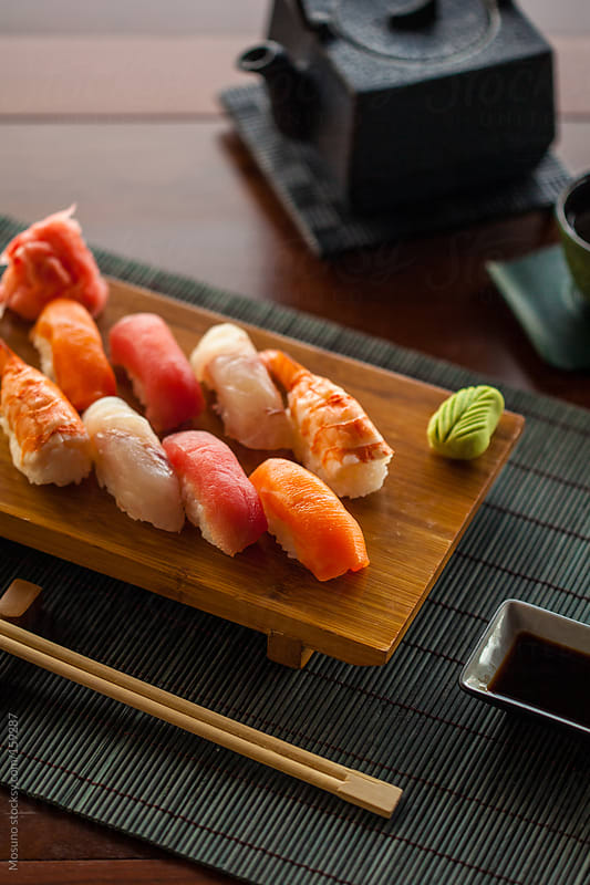 Fish Sushi and Tea by Mosuno for Stocksy United