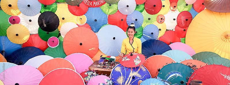 Umbrella making factory, Bo Sang umbrella village, Bo Sang, Chiang Mai, northern Thailand by Gavin Hellier for Stocksy United