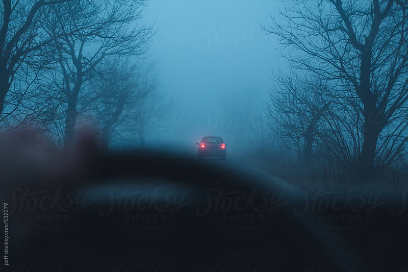 Driving behind a car in te mist by paff for Stocksy United