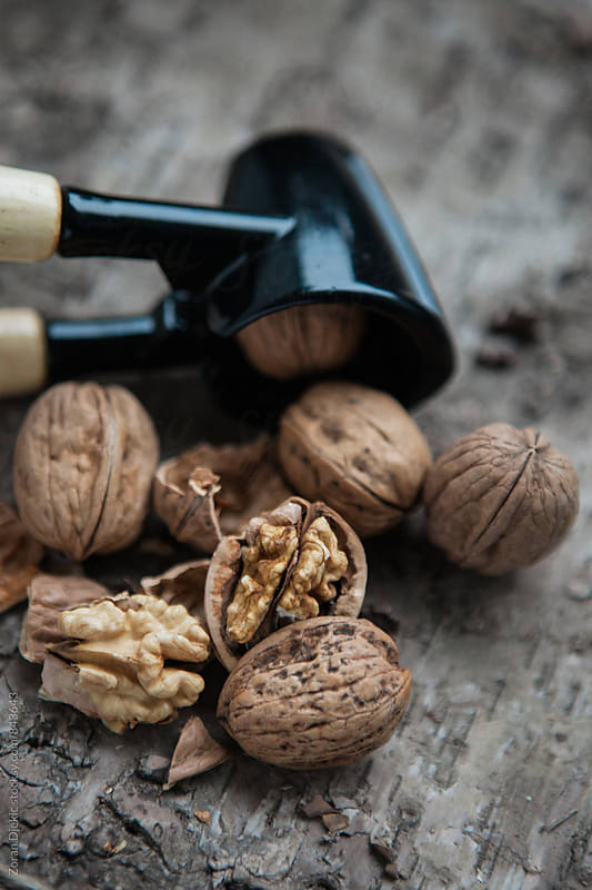 Walnuts and nutcracker on wooden background  by Zocky for Stocksy United