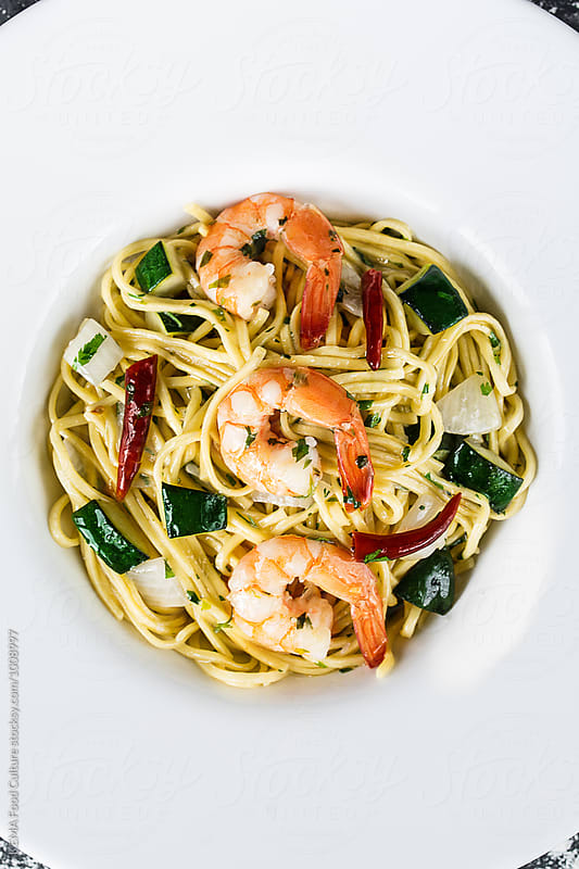 Fresh pasta with shrimps, zucchini and chily by KEMA Food Culture for Stocksy United