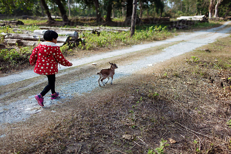 Child running after a baby goat in the forest by Saptak Ganguly for Stocksy United