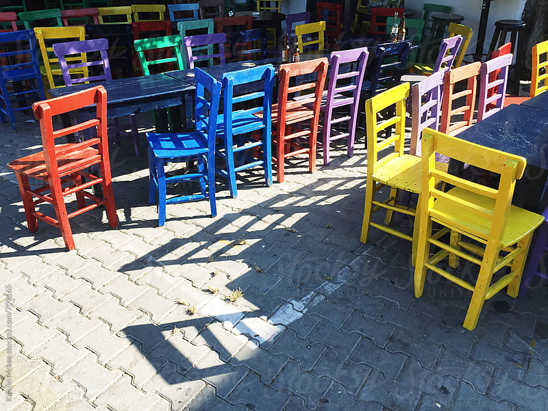 Colourful chairs in Kas, Turkey by Kirstin Mckee for Stocksy United
