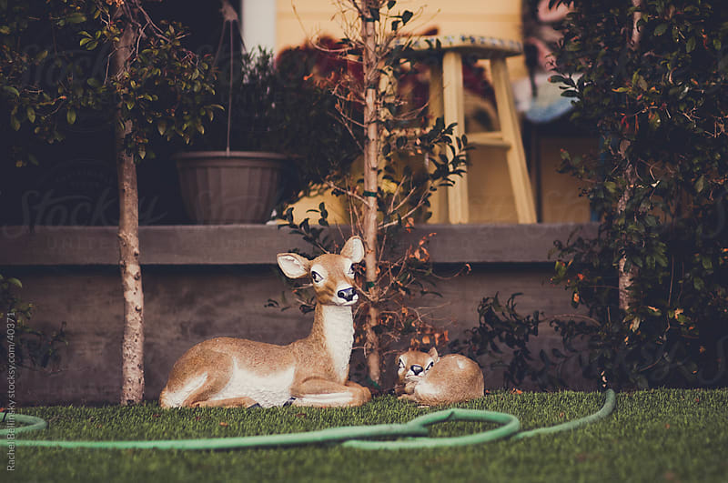 Ornamental deer statues on a California lawn by Rachel Bellinsky for Stocksy United