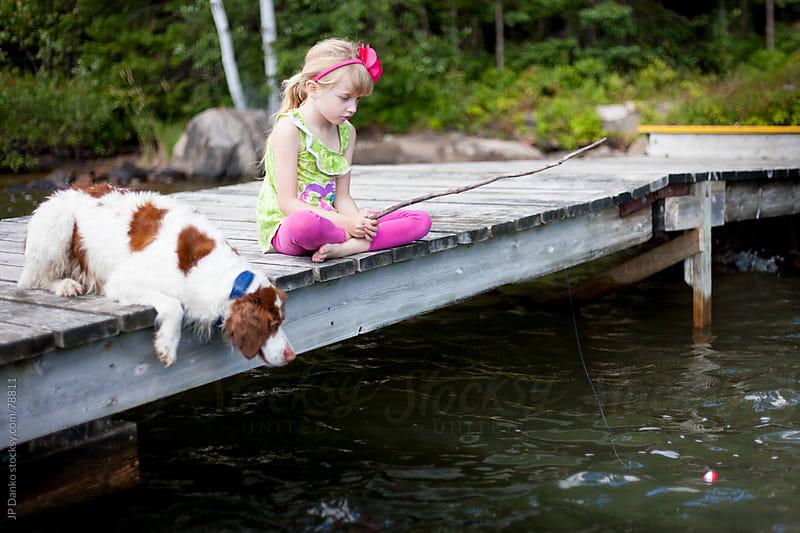 Little Girl Fishing In Cottage Lake by JP Danko for Stocksy United