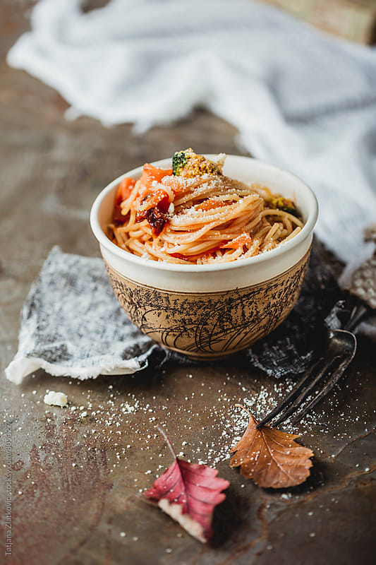 Spaghetti with tomato and broccoli by Tatjana Zlatkovic for Stocksy United