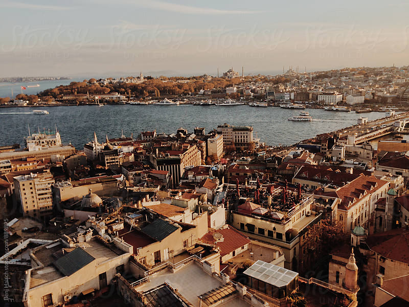 Istanbul From Above at Sunset by Benj Haisch for Stocksy United