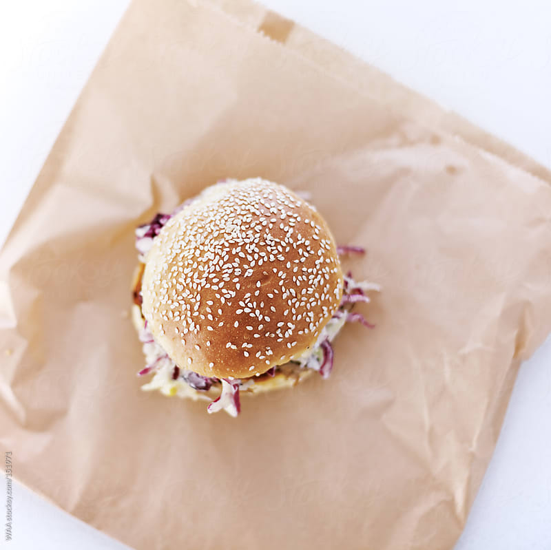 Pulled Pork Roll on Brown Paper Bag by WAA for Stocksy United