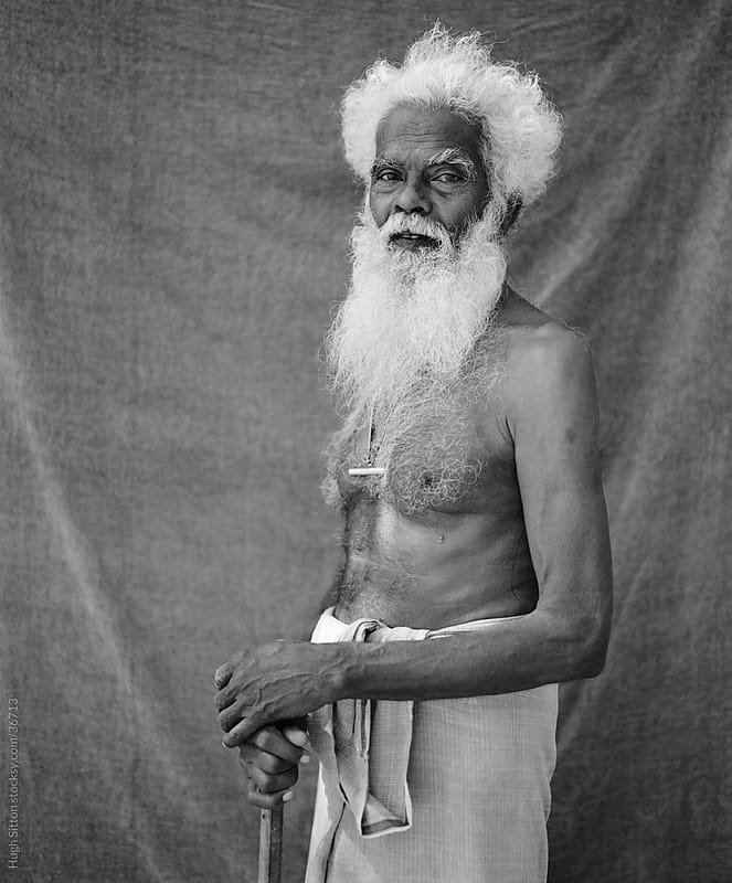 Portrait of elderly Sri Lankan gentleman. by Hugh Sitton for Stocksy United