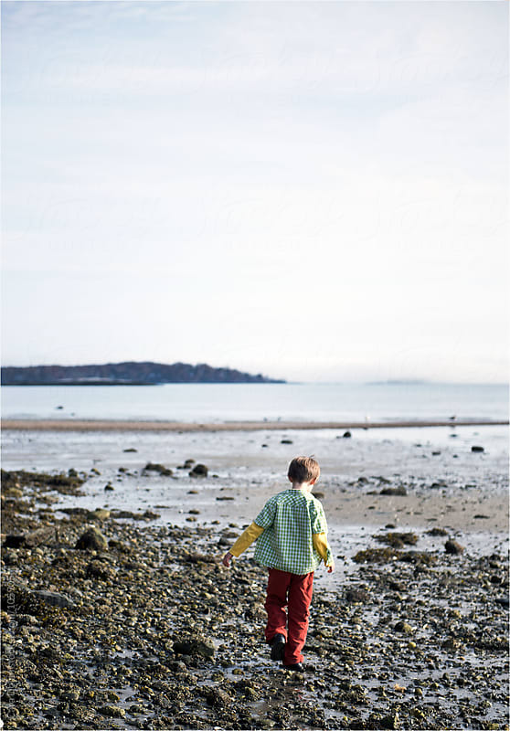 Boy walks on a rocky beach at low tide by Cara Dolan for Stocksy United