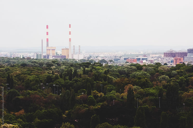 Aerial view of Vienna industrial area by Luca Pierro for Stocksy United