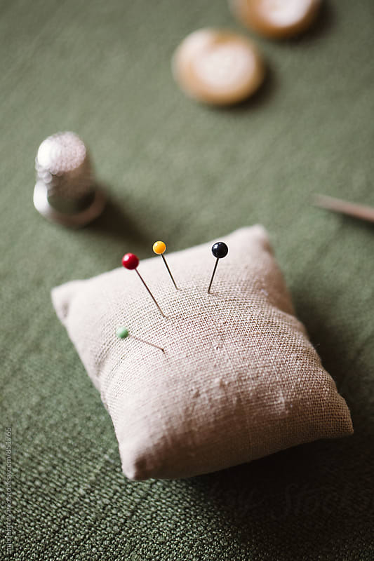Pins on pincushion by michela ravasio for Stocksy United