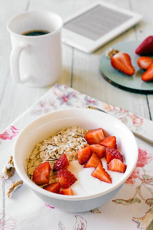 Healthy muesli breakfast by Pixel Stories for Stocksy United