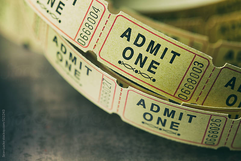 Admit One Admission Tickets In Strip From Roll by Sean Locke for Stocksy United
